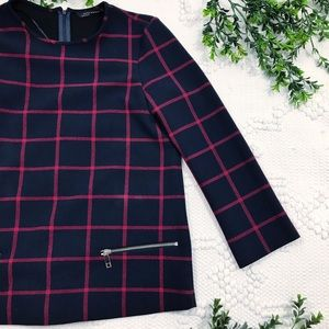 Zara Woman Navy & Red Plaid Top